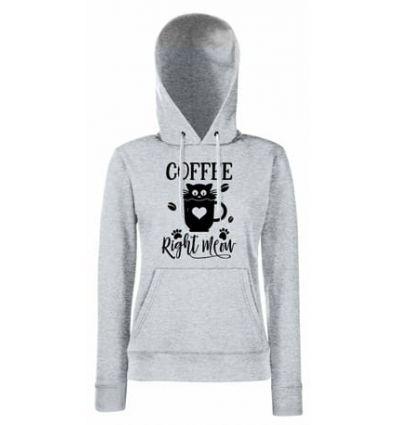 Bluza damska z kapturem Coffe right meow