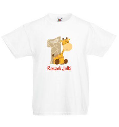 Koszulka dziecięca z imieniem Żyrafa na roczek Julki