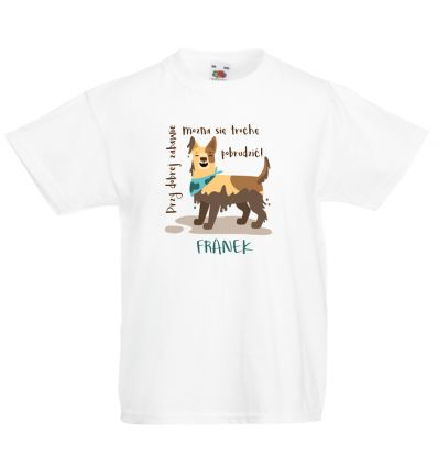 Koszulka dziecięca Pies w błocie z imieniem