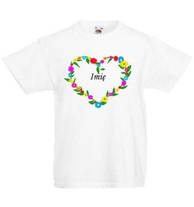 Koszulka Serce z kwiatków z imieniem