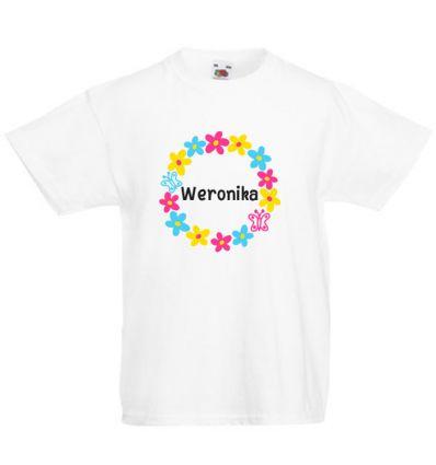 Koszulka dziecięca z imieniem Kolorowe koło z kwiatków