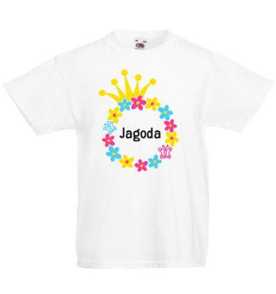Koszulka dziecięca z imieniem Kolorowe koło z kwiatków z koroną