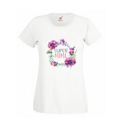 Koszulka Super Mama z polnymi kwiatami