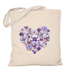 Torba fioletowe serce z gałązkami