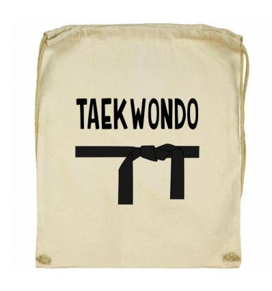 Workoplecak Taekwondo z czarnym pasem