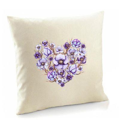 Poszewka fioletowe Serce z gałązkami
