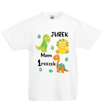 Koszulka na roczek z dinozaurami