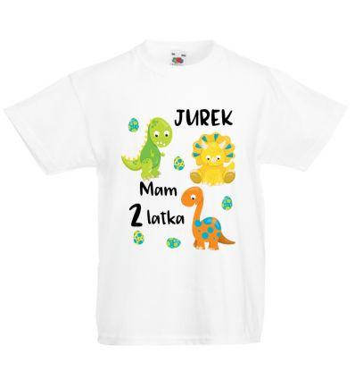 Koszulka na dwa latka z dinozaurami