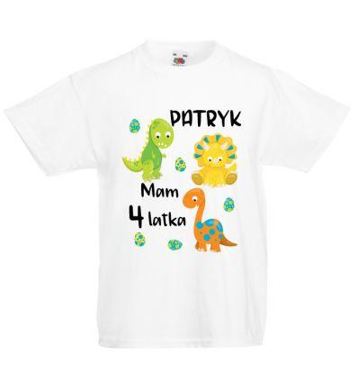 Koszulka na cztery latka z dinozaurami